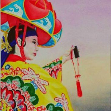 琉球舞踊の水彩画